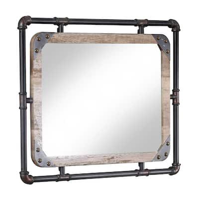 Medium Rectangle Rustic Beige Antiqued Contemporary Mirror (23.63 in. H x 31.5 in. W)