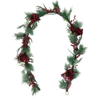 9 ft. Artificial Frosted Garland with Red Berries, Plaid Bows and Rustic Sleigh Bells