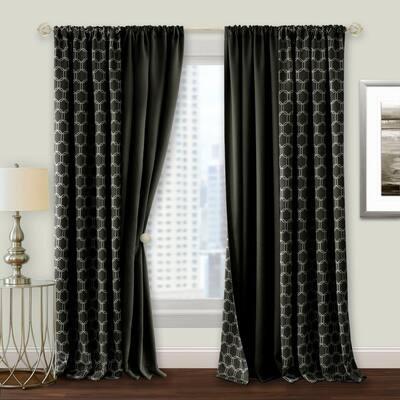 Black Geometric Blackout Curtain - 50 in. W x 84 in. L