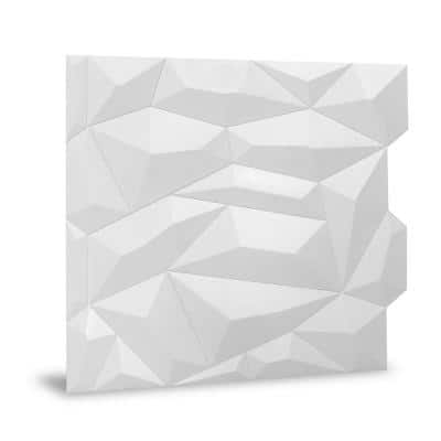 24 in. x 24 in. Glacier PVC Seamless 3D Wall Panels in White 12-Pieces