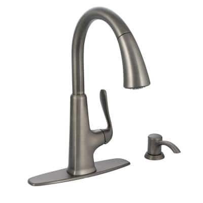 Pasadena Single-Handle Pull-Down Sprayer Kitchen Faucet with Soap Dispenser in Slate
