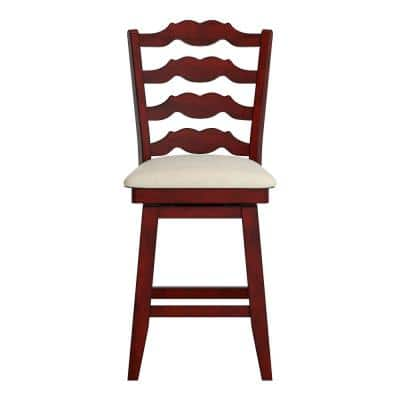 24 in. H Antique Berry French Ladder Back Swivel Chair with Beige Linen Seat