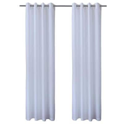 Seascapes 50 in. W x 84 in. L Light Filtering Grommet Indoor/Outdoor Curtain Panel Pair in White