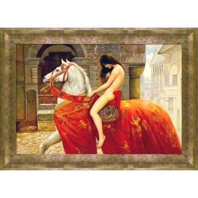 """""""Lady Godiva, c. 1897 with Sirocco"""" by John Maler Collier Framed Abstract Wall Art Oil Painting 43 in. x 31 in."""
