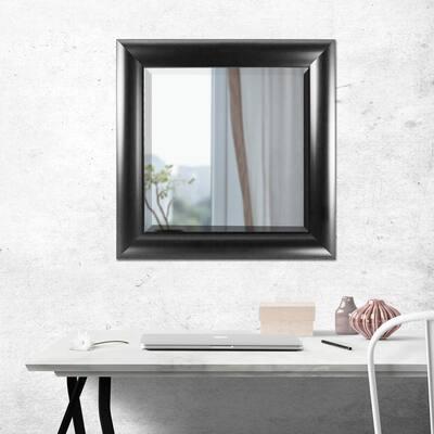 Medium Square Black Modern Mirror (25 in. H x 21 in. W)