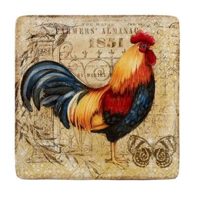 Gilded Rooster Multi-Colored 12.5 in. Ceramic Square Platter