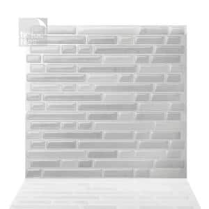 Como White 10 in. W x 10 in. H Peel and Stick Self-Adhesive Decorative Mosaic Wall Tile Backsplash (10-Tiles)
