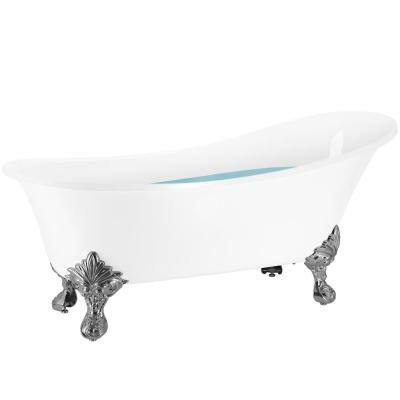 60 in. Fiberglass Single Slipper Clawfoot Non-Whirlpool Bathtub in Glossy White