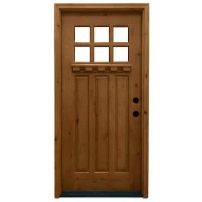 36 in. x 80 in. Craftsman 6 Lite Stained Knotty Alder Wood Prehung Front Door