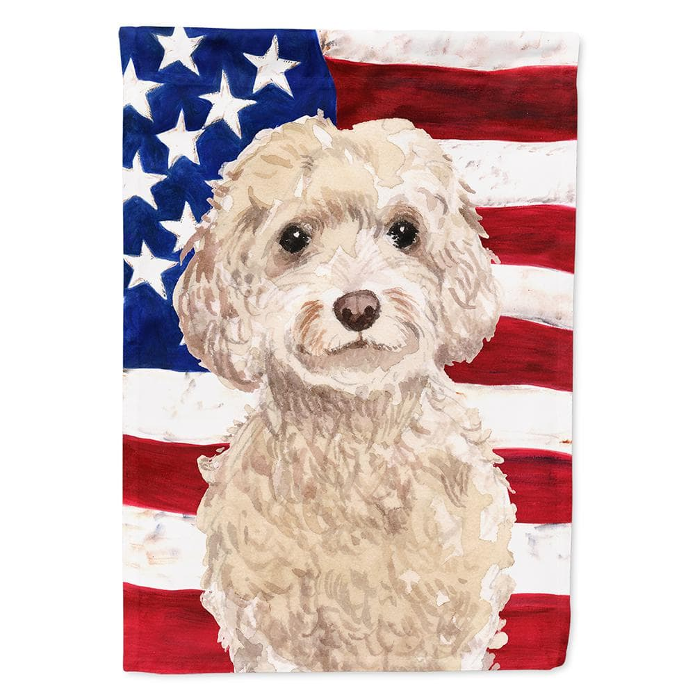 Caroline S Treasures 28 In X 40 In Canvas House Size 2 Sided Heavy Weight Polyester Champagne Cockapoo Patriotic Flag Bb9375chf The Home Depot
