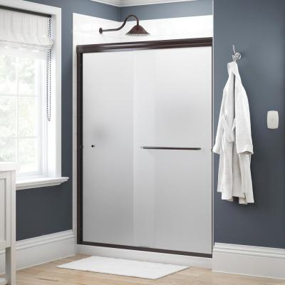 Simplicity 60 in. x 70 in. Semi-Frameless Traditional Sliding Shower Door in Bronze with Niebla Glass