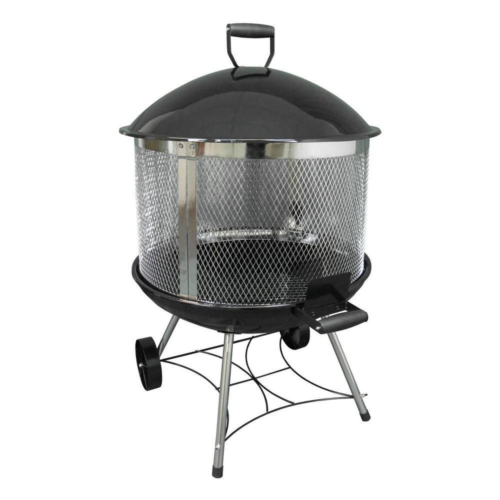 Landmann Heatwave 31 5 In X 45 5 In Round Steel Wood Burning Firepit In Black 28051 The Home Depot