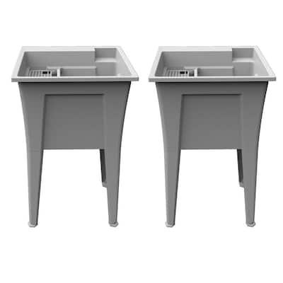 24 in. x 22 in. Polypropylene Granite Laundry Sink (Pack of 2)