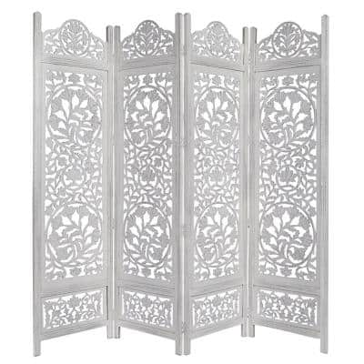 Handcrafted Wooden Distressed White 4-Panel Room Divider Screen Featuring Lotus Pattern-Reversible