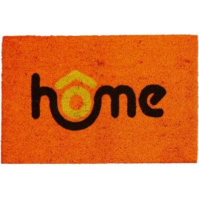 Printed Home Orange 16 in. x 24 in. Coir Coco Fibers Door Mat