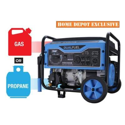 6,580/5,500-Watt Dual Fuel Gasoline/Propane Powered Recoil Start Portable Generator with CARB Compliant 274 cc Engine