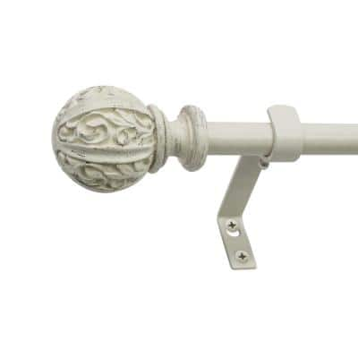 26 in. - 48 in. Single Curtain Rod in Distressed White with Leaf Ball Finial