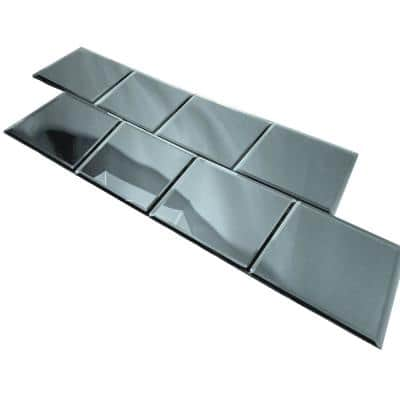 Reflections Graphite Blue Mirror 8 in. x 8 in. Beveled Glass Square Wall Tile (16 sq. ft./case)