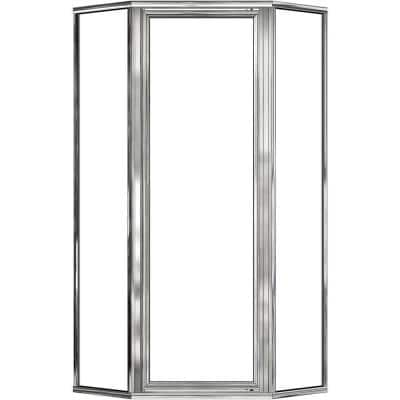 Deluxe 22-5/8 in. x 68-5/8 in. Framed Neo-Angle Hinged Shower Door in Chrome
