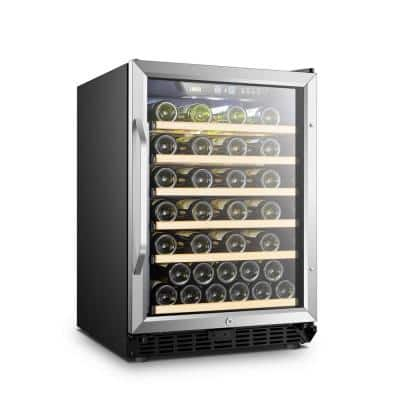 23 in. 52-Bottle Stainless Steel Single Zone Wine Refrigerator