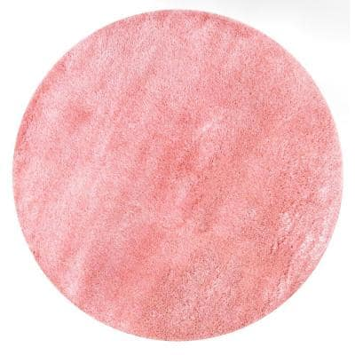 Gynel Solid Shag Baby Pink 5 ft. Round Rug