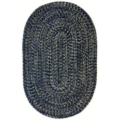 Team Spirit Navy Gold 20 in. x 30 in. Braided Oval Area Rug