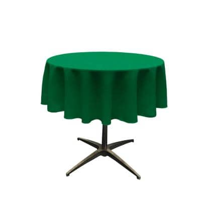 Polyester Poplin Emerald Green 51 in. Round Tablecloth