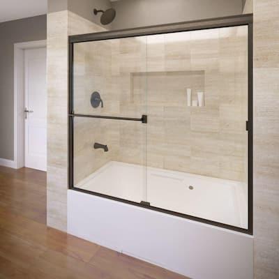 Classic 60 in. x 57 in. Clear Semi-Frameless Sliding Tub Door in Oil Rubbed Bronze
