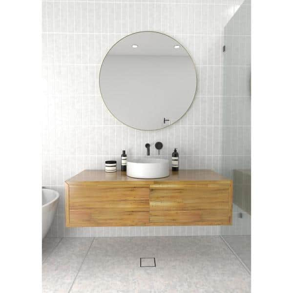Glass Warehouse 36 In W X 36 In H Framed Round Bathroom Vanity Mirror In Satin Brass Mf R 36 Sb The Home Depot