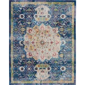 Global Vintage Blue/Multicolor 8 ft. x 10 ft. Persian Vintage Area Rug