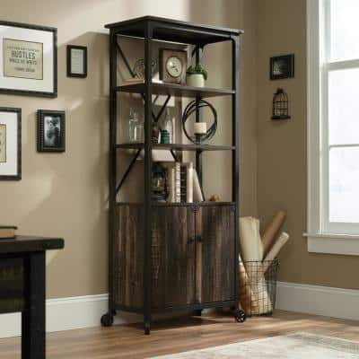 69.8 in. Carbon Oak Metal 5-shelf Cart Bookcase with Doors