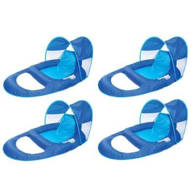 Blue Spring Float Recliner Pool Lounge Chair with Sun Canopy (4-Pack)