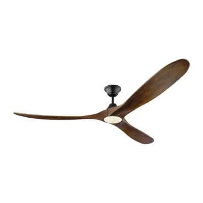 Maverick Max LED 70 in. Integrated LED Indoor/Outdoor Matte Black Ceiling Fan with Dark Walnut Blades with Remote