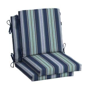 18 in. x 16.5 in. Mid Back Outdoor Dining Chair Cushion in Sapphire Aurora Stripe (2-Pack)