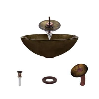 Glass Vessel Sink in Foil Undertone with Waterfall Faucet and Pop-Up Drain in Oil Rubbed Bronze