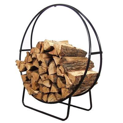 48 in. Black Steel Outdoor Log Hoop