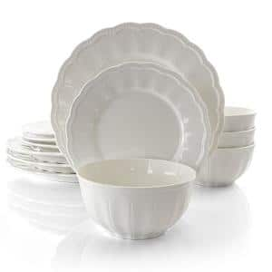 Ultra 12-Piece Casual White Ceramic Dinnerware Set (Service for 4)