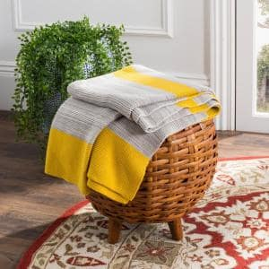 Sun Kissed 50 in. x 60 in. Yellow/Light Gray/Natural Knit Throw Blanket