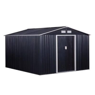 10.6 ft. x 9.1 ft. x 6.3 ft. Grey Metal Garden Shed with 4 Ventilation Slots and Sliding Doors