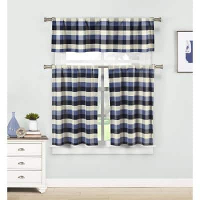 Blue Gingham Rod Pocket Room Darkening Curtain - 58 in. W x 15 in. L (Set of 2)