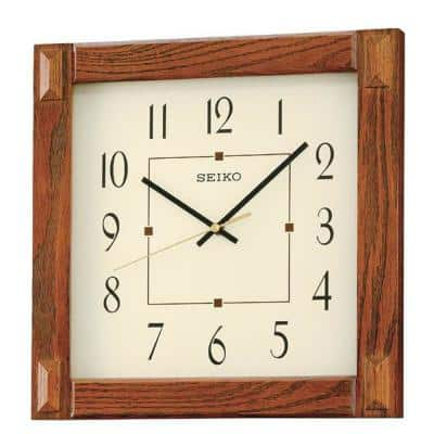 Square Wood Frame 13 in. Wall Clock