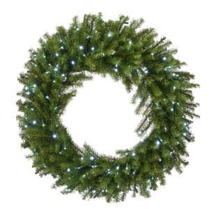 36 in. Norwood Fir Wreath with Memory-Shape and 200 Cool White LED Lights