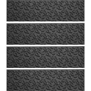 Dogwood Leaf 8.5 in. x 30 in. Stair Treads (Set of 4) Charcoal