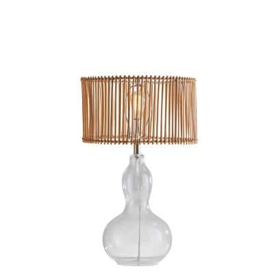 Cuba Gourd 26.5 in. Clear Glass and Rattan Table Lamp