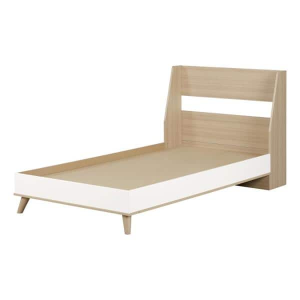 South Shore Yodi Soft Elm and Pure White Twin Bed   The Home Depot