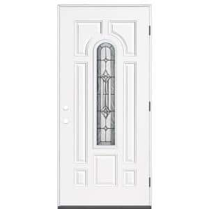 Providence 36 in. x 80 in. 7 Panel Left-Hand Inswing 1/4 Lite Center Arch Primed White Steel Prehung Front Door