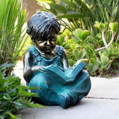 19 in. Tall Indoor/Outdoor Boy Sitting Down Reading Book Statue Set Yard Art Decoration