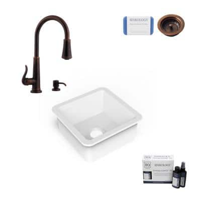 Amplify Undermount Fireclay 18.1 in. Single Bowl Bar Prep Sink with Pfister Faucet in Bronze and Strainer