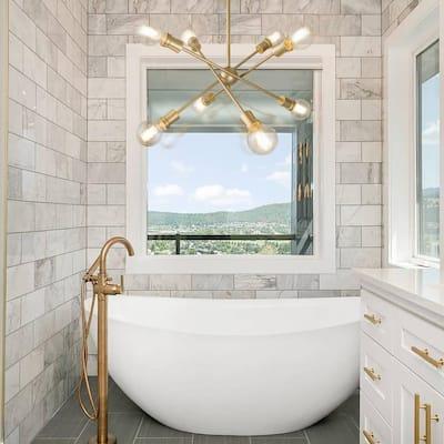 Adjustable 25 in. 8-Light Modern Gold Farmhouse Kitchen Island Chandelier with Sputnik Style