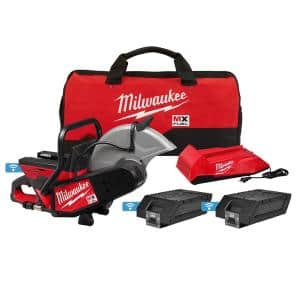 MX FUEL Lithium-Ion Cordless 14 in. Cut Off Saw Kit with (2) Batteries and Charger